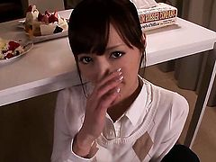 Kaede Fuyutsuki satisfies mans sexual needs and desires and then takes cumshot on her pretty face