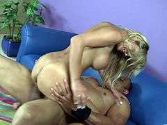 Admirable light-haired hottie sucks massive prick and gets her cunny licked. Thereafter she rides that pecker in a cowgirl pose and gets poked doggystyle.