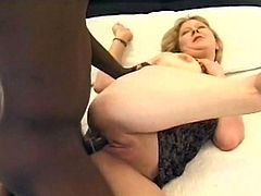 Check out this great interracial scene where the horny mature blonde Lynn Ross is fucked by a big black cock as you hear her moan.