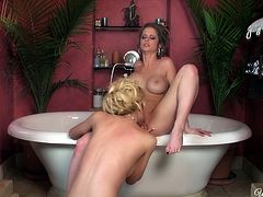 Sexy lesbians Angela Sommers & Emily Addison having a good time in the tub