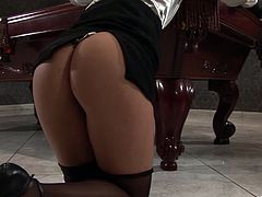 Gorgeous lesbian babes Gloria De Francesco and Izabella De Cruz get a little too horny on the pool table as they finger their dripping wet pussies.