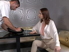 Macy is a beautiful babe being nailed by this guy's thick cock in this hardcore scene where she ends up with a mouthful of jizz.