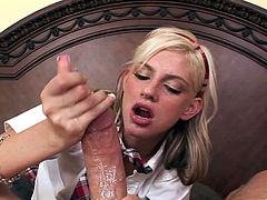 Slim blonde Christine Alexis, wearing a miniskirt, kneels in front of a man and gives him a blowjob. Then they fuck doggy style and in the cowgirl position and seem to be unable to stop.