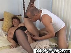 Busty mature slut named Josie is ready to get hammered by a younger stud. Watch as she starts to blow his cock to make it ready and hard for her old fat cunt.