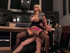 Busty Blonde With Sexy Glasses Sits On A Big Hard Cock