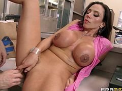 Ariella Ferrera is fucked by a horny stud until cumming in her mouth