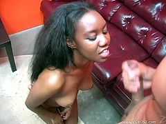 Ebony with cute natural tits loves giving hardcore blowjobs in interracial sex videos. Watch her ask for a facial and swallow his cum.