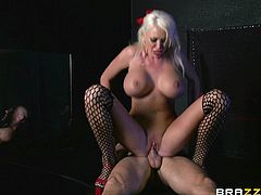 Vivacious Blonde Cougar With Huge Fake Tits Sucking A Stranger's Big Cock