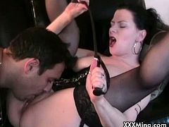 Checkout this filthy busty brunette milf Mina. She gets her tight pussy licked deep, while she moans in pleasure. She returns the favor by giving this dude a nice blowjob before taking his big hard dick in her tight pussy for a nice fuck. Finally Mina gets load of cum in her mouth.