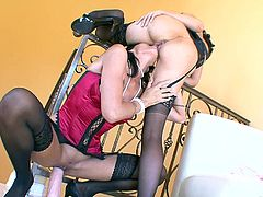 Diana and Zoey gets buck wild as they keep most of their hot lingerie on while sharing some very big toys that make then cum hard.