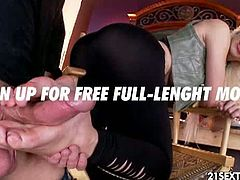 Stevie Shae's colleague is trying to convince her to fuck him, but he settles for a foot massage that turns into a footjob after he sucks on her pretty toes.