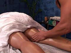 Desirable diva with killer butt gets awesome oily massage before getting her soaking cunny hammered mish and doggystyle. Then she hangs her head down and gets facefucked.