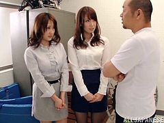 Two pretty Japanese girls, wearing pantyhoses, please a dude with a blowjob. Then the guy makes holes in the sluts' pantyhoses and fucks their coochies doggy style.