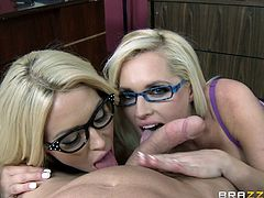 The gorgeous Alena Croft and Summer Brielle wear their sexy glasses in the office while they get absolutely drilled by their boss's huge hard cock.