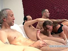 The gorgeous Casey Cumz gobbles three big hard cocks in this rough gangbang and ends up getting a nasty bukkake just the way she likes it.