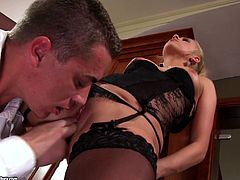 The sexy blonde Carla Cox wears her sexy stockings as the gobbles a hard cock and gets her pussy drilled to end up getting her a mouthful of cum.