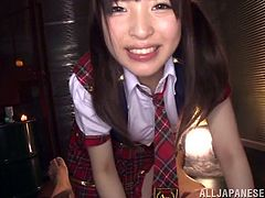 Click to watch this Asian brunette, with natural breasts wearing her school uniform, while she uses her pie hole to satisfy a guy's needs.