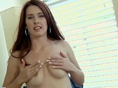 Melody Jordan only manages to keep the stripping part at a slow pace. When she touches herself, she feels the need to rub her pussy fast in order to climax.