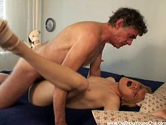 Get a hard dick by watching this short haired babe, with a nice ass wearing high heels, while she gets pounded hard by a nasty old man.