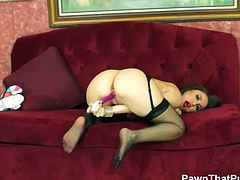 Pawn That Pussy brings you a hell of a free porn video where you can see how the hot brunette Gabriella Paltrova plays with her pussy while assuming very naughty poses.
