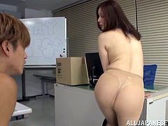Topless Japanese milf Yurie Matsushi, wearing thong and pantyhose, is having fun with a guy in an office. They fondle each other, then have some dirty rear banging and enjoy it a lot.