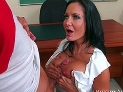 Raven haired busty milf Ava Addams is the sexiest teacher at school and she always gets what she wants. This bombshell with long legs and massive tits gets her pussy eaten out by Bill Bailey before she takes his dick.
