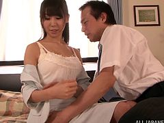 Naughty raven-haired babe gets her big natural boobs grabbed and man licks her wet snatch. Then she gets polished mish and rides cock in a cowgirl pose.