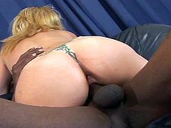 Interracial threesome fuck as monster black and white cocks take this busty blonde slut in hot double nailing adventure.