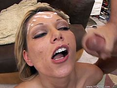 Salacious blonde Anna Nova fucks her ass with a dildo and lets two men watch her. After that she sucks the dudes' schlongs and lets the studs double-team her and use her forehead as a cum target.