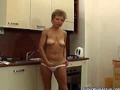 Blonde and brunette milfs with big or small tits masturbate when they are alone. Some do it in the kitchen, while others do it outdoors. Some use toys too.