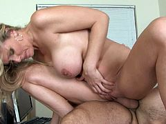 If someone knows how to seduce men it is Julia Ann. She seduces her student easily and decides to fuck him hard. She rides her student's cock in reverse cowgirl position. Then she switches to cowgirl.