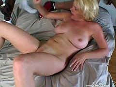 Chubby short-haired blonde milf Missy Monroe is having interracial MMF sex indoors. She favours two black dudes with great blowjobs and allows them to fuck her holes at the same time and use her face as a cum target.