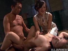 Have a good time watching this Asian babe, with big knockers and a hairy pussy, while she is forced to do things she doesn't want to.