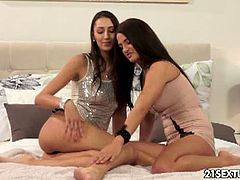 Gorgeous lesbians Kitty Jane and Nicole Vice loves making out everytime they are in their bedroom. Watch their delectable curvaceous body bending and their fresh goodies get licked and eaten.