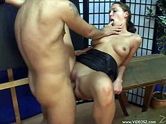 Veronika is a sexy blonde with a perfect ass. Take a look at this hot scene where this hottie is fucked after sucking on this guy's cock.