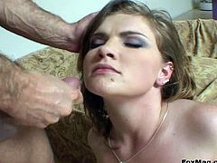A very sexy pornstar with long hair, perky natural tits and a great ass enjoys sucking her boyfriends' massive cock. Hear him scream with pleasure now!