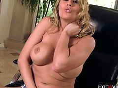 Busty Charisma Cappell loves showing off her luscious assets especially her big breasts. At the moment she is caressing her pussy nonstop until it gets wet, moaning in pleasure.