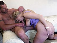 A beautiful blonde pornstar with long hair, big nipples and a shaved pussy enjoys a hardcore anal fuck in her dining room.