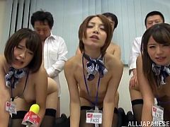 Three breathtaking oriental girls provide dudes with hot blowjob and get their twats screwed doggystyle. Then they get plowed mish until buddies fill their mouths.