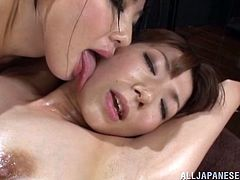 This gorgeous Japanese babe gets the sexiest and nastiest massage from her two hot friends and ends up getting her hairy little pussy fingered hard.