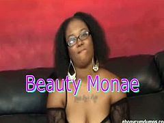 Beauty Monae is a black chick who works on a white cock, sucking it and teasing it until it is ready to burst with cum allover her face and make her happy.