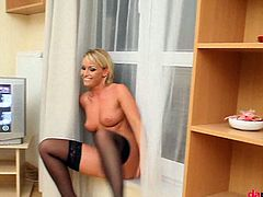 Stunning euro MILF Kathia Nobili is ready for some kinky solo action at home. Watch as she spreads her legs wide behind the scenes to masturbate for you all.