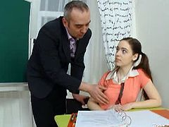 Julia is a schoolgirl with an extra small body. Her old teacher touches her tiny titties and licks her tight cunt before he penetrates her. She does whatever it takes for good grades.