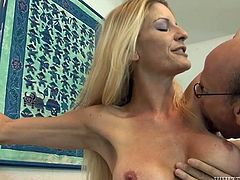 Time worn slut is getting shagged doggy style before riding hard dick on top