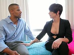 Attractive black stud pounding Nina Lawless's butt
