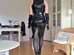 Sissy sexy tight black leather dress 2