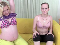This horny pregnant woman seduces a hot girl, licks her pussy then the two share a dildo and make each other cum like crazy bitches.