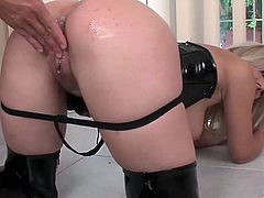 The gorgeous Lily wears a sexy leather outfit while she gives this guy the hottest titjob and gets drilled hard doggystyle.