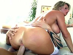 Boob Banger brings you a hell of a free porn video where you can see how the beautiful and busty blonde Vicky Vette gets fucked deep and hard into a massive orgasm.