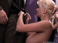 Big-breasted blonde mom Stacy Valentine seduces a man and plays dirty games with him. She favours the guy with a blowjob and allows him to drill her twat.